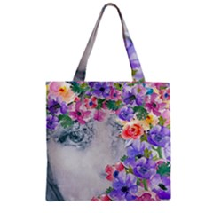 Flower Girl Zipper Grocery Tote Bag by 8fugoso