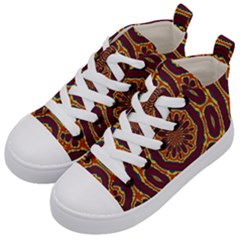 Geometric Tapestry Kid s Mid Top Canvas Sneakers by linceazul