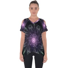 Mandala Fractal Light Light Fractal Cut Out Side Drop Tee by Celenk