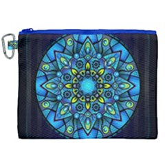 Mandala Blue Abstract Circle Canvas Cosmetic Bag (xxl) by Celenk