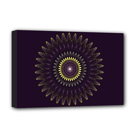 Fractal Purple Mandala Violet Deluxe Canvas 18  X 12   by Celenk