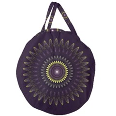 Fractal Purple Mandala Violet Giant Round Zipper Tote by Celenk