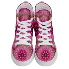 Flower Mandala Art Pink Abstract Women s Hi Top Skate Sneakers