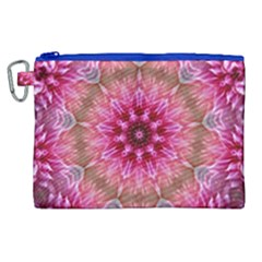 Flower Mandala Art Pink Abstract Canvas Cosmetic Bag (xl) by Celenk