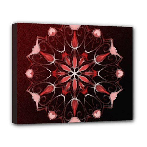 Mandala Red Bright Kaleidoscope Deluxe Canvas 20  X 16   by Celenk