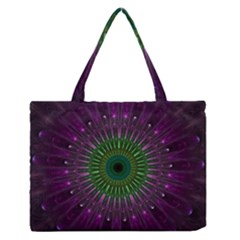 Purple Mandala Fractal Glass Zipper Medium Tote Bag by Celenk
