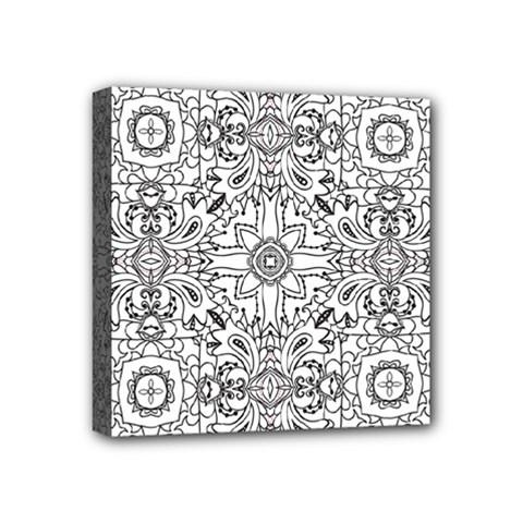Mandala Pattern Line Art Mini Canvas 4  X 4  by Celenk