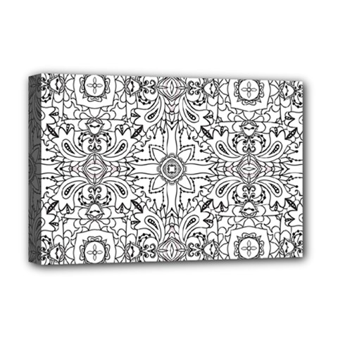 Mandala Pattern Line Art Deluxe Canvas 18  X 12   by Celenk