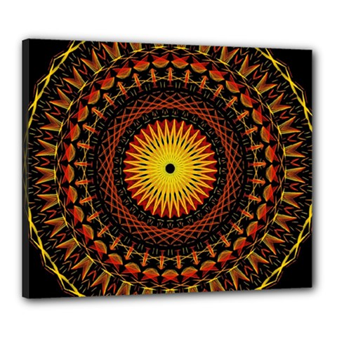 Mandala Psychedelic Neon Canvas 24  X 20  by Celenk