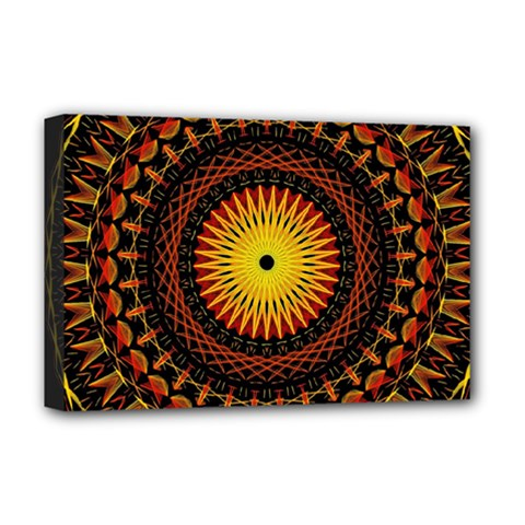 Mandala Psychedelic Neon Deluxe Canvas 18  X 12   by Celenk