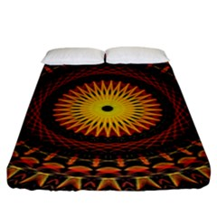 Mandala Psychedelic Neon Fitted Sheet (king Size) by Celenk