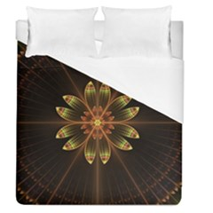 Fractal Floral Mandala Abstract Duvet Cover (queen Size) by Celenk