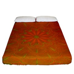 Background Paper Vintage Orange Fitted Sheet (king Size) by Celenk