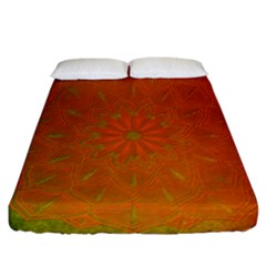 Background Paper Vintage Orange Fitted Sheet (california King Size) by Celenk