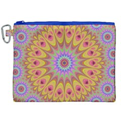 Geometric Flower Oriental Ornament Canvas Cosmetic Bag (xxl) by Celenk