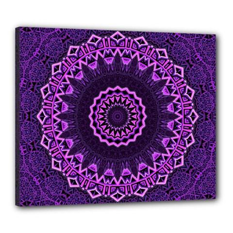 Mandala Purple Mandalas Balance Canvas 24  X 20  by Celenk