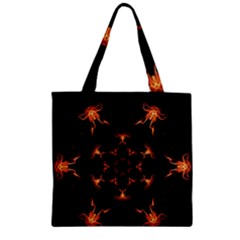 Mandala Fire Mandala Flames Design Zipper Grocery Tote Bag by Celenk