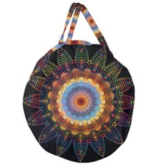 Colorful Prismatic Chromatic Giant Round Zipper Tote by Celenk