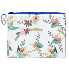 Floral Backdrop Pattern Flower Canvas Cosmetic Bag (xxl) by Celenk