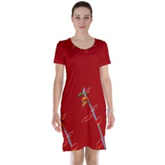 Red Background Paper Plants Short Sleeve Nightdress by Celenk
