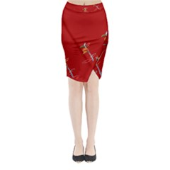 Red Background Paper Plants Midi Wrap Pencil Skirt by Celenk