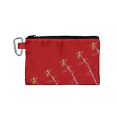 Red Background Paper Plants Canvas Cosmetic Bag (small)