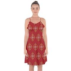 Pattern Background Holiday Ruffle Detail Chiffon Dress