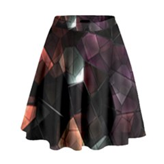 Crystals Background Design Luxury High Waist Skirt by Celenk