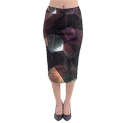 Crystals Background Design Luxury Midi Pencil Skirt by Celenk