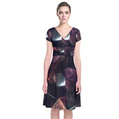Crystals Background Design Luxury Short Sleeve Front Wrap Dress by Celenk