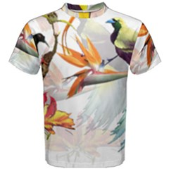 Exotic Birds Of Paradise And Flowers Watercolor Men s Cotton Tee by TKKdesignsCo
