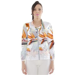 Exotic Birds Of Paradise And Flowers Watercolor Wind Breaker (women) by TKKdesignsCo