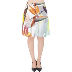 Exotic Birds Of Paradise And Flowers Watercolor Velvet High Waist Skirt by TKKdesignsCo