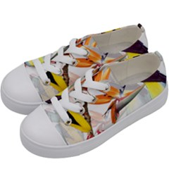 Exotic Birds Of Paradise And Flowers Watercolor Kids  Low Top Canvas Sneakers by TKKdesignsCo