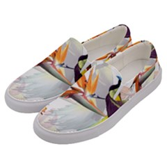 Exotic Birds Of Paradise And Flowers Watercolor Men s Canvas Slip Ons by TKKdesignsCo