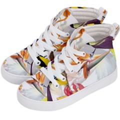 Exotic Birds Of Paradise And Flowers Watercolor Kid s Hi Top Skate Sneakers by TKKdesignsCo