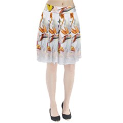 Exotic Birds Of Paradise And Flowers Watercolor Pleated Skirt by TKKdesignsCo