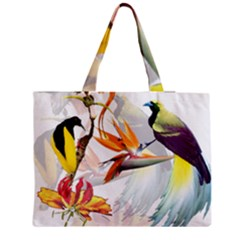 Exotic Birds Of Paradise And Flowers Watercolor Zipper Medium Tote Bag by TKKdesignsCo