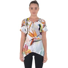Exotic Birds Of Paradise And Flowers Watercolor Cut Out Side Drop Tee by TKKdesignsCo