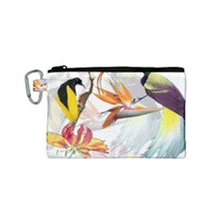 Exotic Birds Of Paradise And Flowers Watercolor Canvas Cosmetic Bag (small)