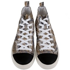 Texture Marble Abstract Pattern Men s Mid Top Canvas Sneakers