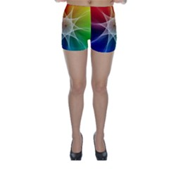Abstract Star Pattern Structure Skinny Shorts