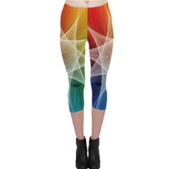 Abstract Star Pattern Structure Capri Leggings  by Celenk