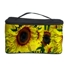 Sun Flower Pattern Background Cosmetic Storage Case by Celenk