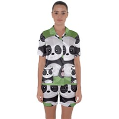 Cute Panda Satin Short Sleeve Pyjamas Set