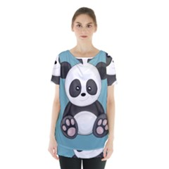 Cute Panda Skirt Hem Sports Top