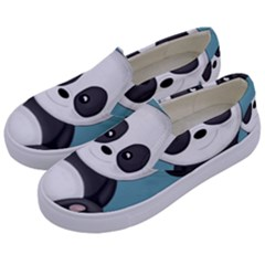 Cute Panda Kids  Canvas Slip Ons by Valentinaart