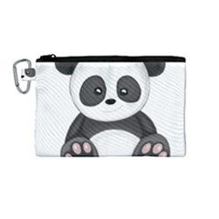 Cute Panda Canvas Cosmetic Bag (medium) by Valentinaart
