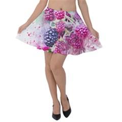 Blackberry Fruit Art Abstract Velvet Skater Skirt by Celenk