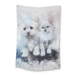 Cat Dog Cute Art Abstract Small Tapestry by Celenk